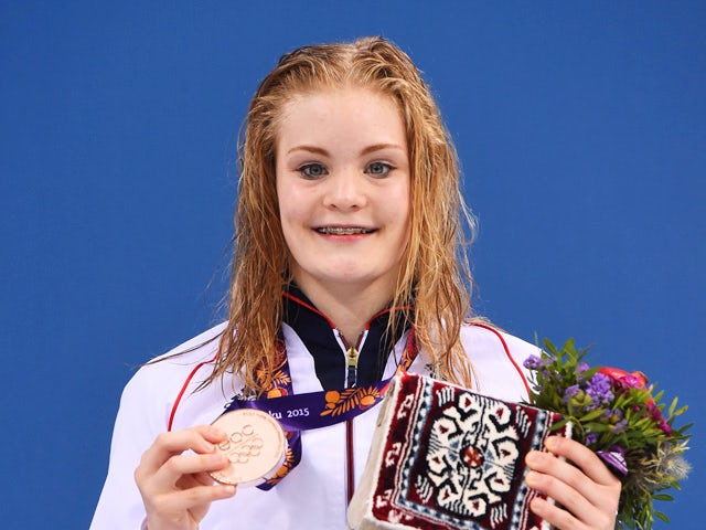 Bronze medalist Layla Black of Great Britain poses during the medal ceremony for the the Women's 200m Breaststroke final during day thirteen of the Baku 2015 European Games at the Baku Aquatics Centre on June 25, 2015