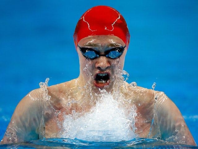 Luke Davies of Great Britain competes in the Men's 200m Breaststroke heats during day eleven of the Baku 2015 European Games at the Baku Aquatics Centre on June 23, 2015