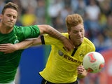 Dortmund's defender Marcel Halstenberg vies for the ball during the Liga-Total-Cup final football match SV Werder Bremen vs Borussia Dortmund in Hamburg, northern Germany, August 5, 2012