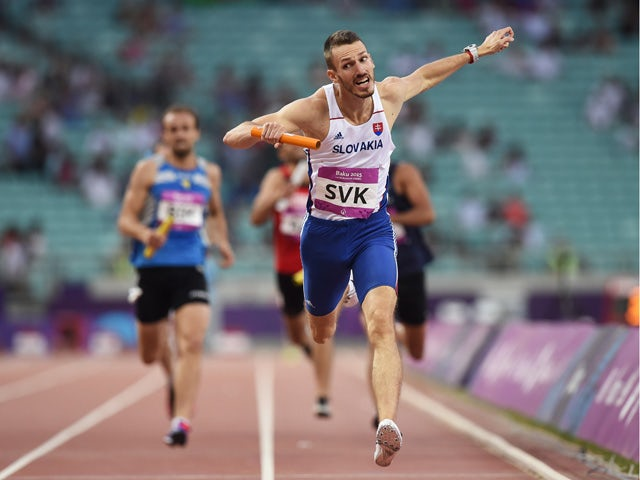 Martin Kucera of Slovakia crosses the line to win the Men's 4x400 metres relay during day ten of the Baku 2015 European Games at the Olympic Stadium on June 22, 2015