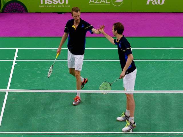 Mathias Boe (R)and Carsten Mogensen of Denmark celebrate during the Men's Badminton Doubles final against Vladimir Ivanov and Ivan Sozonov of Russia on day fifteen of the Baku 2015 European Games at at Baku Sports Hall on June 27, 2015