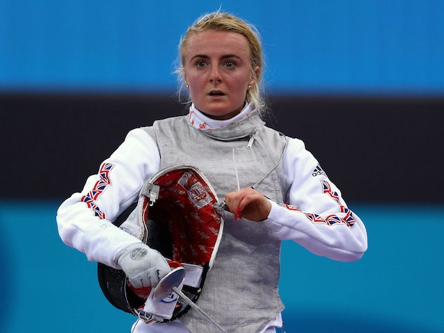 Natalia Sheppard of Great Britain looks on during the Women's Fencing Individual Foil Round of 32 match against Julia Walczyk of Poland during day twelve of the Baku 2015 European Games at the Crystal Hall on June 24, 2015