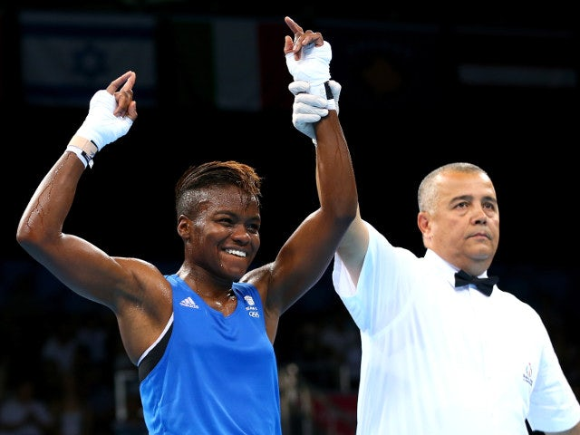 Team GB's Nicola Adams celebrates after confirming her place in the semi-finals of the European Games with victory over Stoyka Petova on June 22, 2015