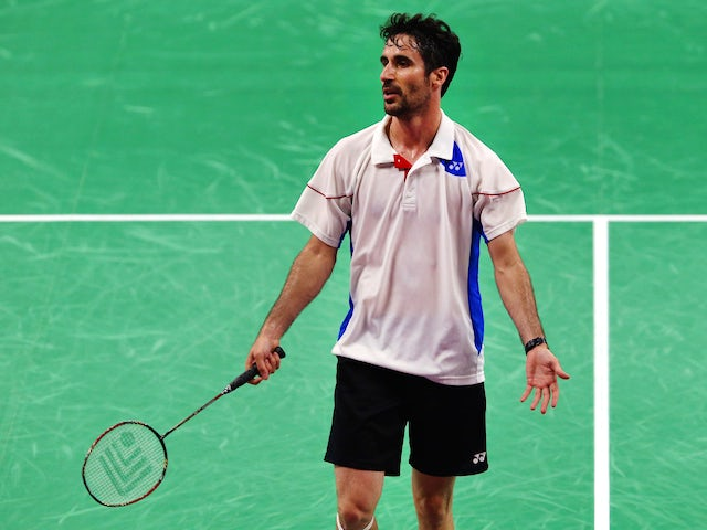 Pablo Abian of Spain competes in the Men's Singles semi final against Kestutsis Navickas of Lithuainia during day fifteen of the Baku 2015 European Games at at Baku Sports Hall on June 27, 2015