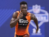Wide receiver Phillip Dorsett of Miami runs the 40-yard dash during the 2015 NFL Scouting Combine at Lucas Oil Stadium on February 21, 2015