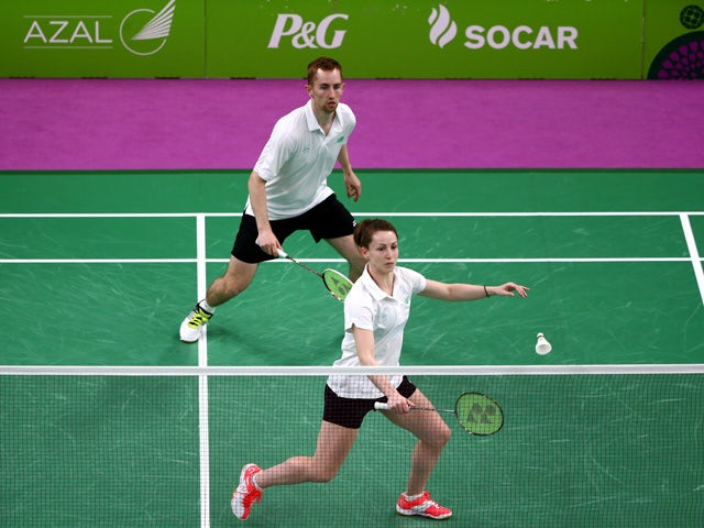 Chloe Magee (R) and Sam Magee of Ireland compete against Samuel Cali and Fiorella Marie Sadowski of Malta in the Badminton Mixed Doubles Group A match during day thirteen of the Baku 2015 European Games at Baku Sports Hall on June 25, 2015