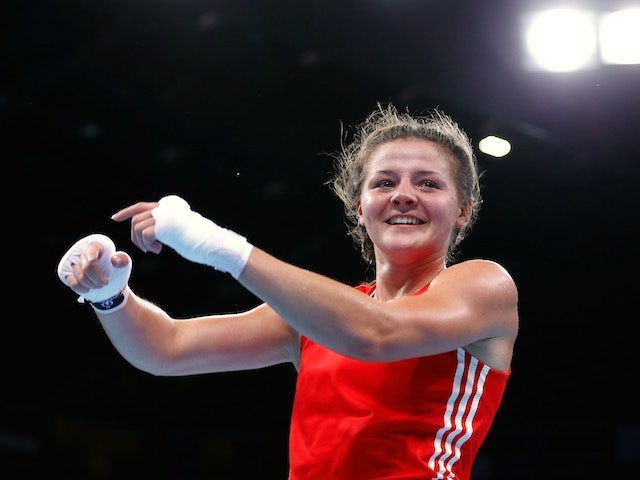 Team GB boxer Sandy Ryan celebrates victory at the European Games on June 23, 2015