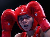 Sandy Ryan of Great Britain in action against Elena Vystropova of Azerbaijan in the Women's Boxing Light Welterweight (60-64kg) Quarter Final during day eleven of the Baku 2015 European Games at the Crystal Hall on June 23, 2015