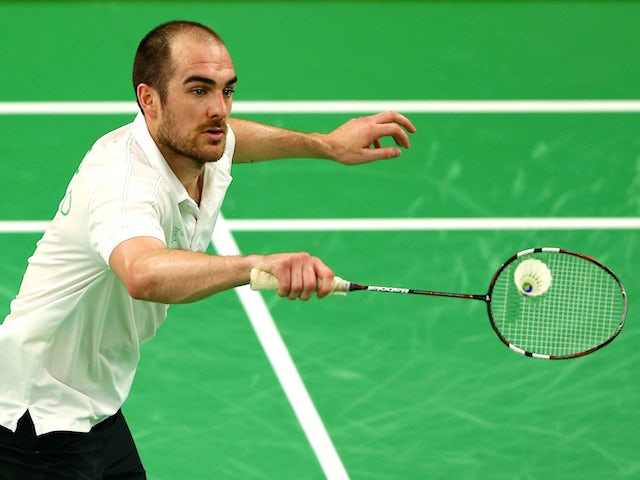 Scott Evans of Ireland competes against Gergely Krausz of Hungary in the Badminton Men's Singles Group A match during day twelve of the Baku 2015 European Games at the Baku Sports Hall on June 24, 2015