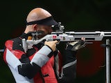 Steffen Olsen of Denmark competes in the Mixed Team 10m Air Rifle Final during day ten of the Baku 2015 European Games at the Baku Shooting Centre on June 22, 2015