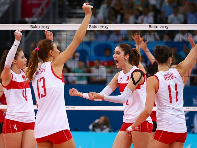 Team Turkey celebrates during the Women's Volleyball semi final match between Azerbaijan and Turkey during day thirteen of the Baku 2015 European Games at the Crystal Hall on June 25, 2015