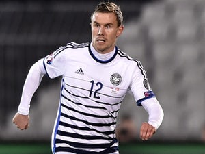 Denmark's defender Andreas Bjelland controls the ball during the UEFA Euro 2016 group I football match between Serbia and Denmark in Belgrade on November 14, 2014