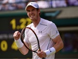 Britain's Andy Murray celebrates winning his men's singles second round match against Netherlands' Robin Haase on day four of the 2015 Wimbledon Championships at The All England Tennis Club in Wimbledon, southwest London, on July 2, 2015