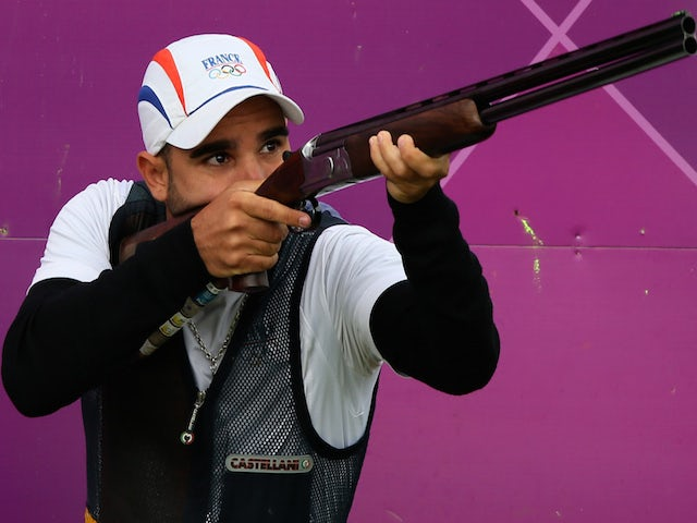 French Anthony Terras competes in the men's skeet shooting qualification of the London 2012 Olympic Games at the Royal Artillery Barracks in London, on July 31, 2012