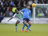 Cameron Stewart of Leeds United controls the ball ahead of Joel Grant of Yeovil Town during the Sky Bet Championship match between Yeovil Town and Leeds United at Huish Park on February 08, 2014