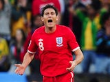 Frank Lampard of England appeals after his goal is disallowed during the 2010 FIFA World Cup South Africa Round of Sixteen match between Germany and England at Free State Stadium on June 27, 2010