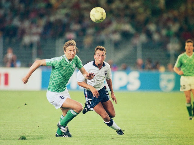 Guido Buchwald of the Federal Republic of Germany challenges David Platt of England during the FIFA World Cup Finals 1990 Semi-Final match between West Germany and England played at the Stadio Delle Alpi, in Turin, Italy on July 4, 1990