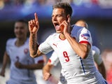 Jan Kliment of Czech Republic celebrates goal with his team-mates during UEFA U21 European Championship Group A match between Serbia and Czech Republic at Letna Stadium on June 20, 2015