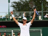 Kevin Anderson of South Africa celebrates match point in his Gentlemen's Singles Third Round match against Leonardo Mayer of Argentina during day five of the Wimbledon Lawn Tennis Championships at the All England Lawn Tennis and Croquet Club on July 3