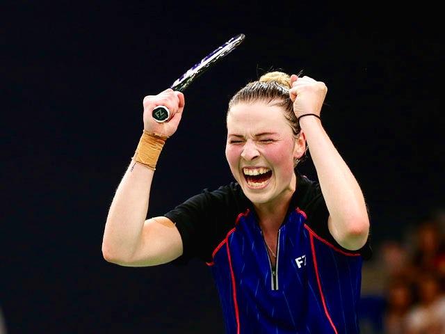 Line Kjaersfeldt of Denmark celebrates after winning against Lianne Tan of Belgium in the Badminton Women's Singles Final during day sixteen of the Baku 2015 European Games at Baku Sports Hall on June 28, 2015