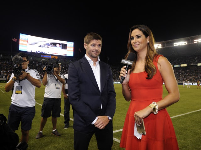 New Los Angeles Galaxy midfielder Steven Gerrard is introduced in front of fans during halftime against Toronto FC on July 4, 2015