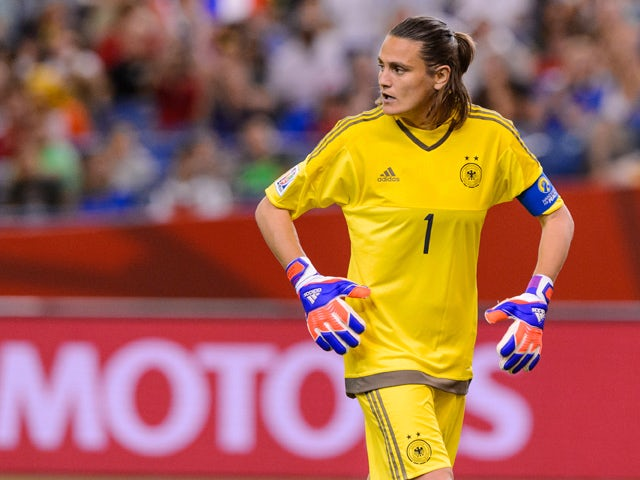 Nadine Angerer #1 of Germany looks behind her during the 2015 FIFA Women's World Cup quarter final match against France at Olympic Stadium on June 26, 2015