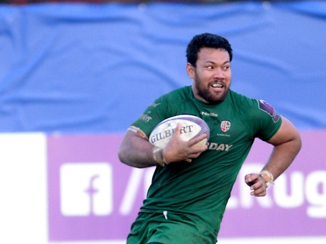 Ofisa Treviranus of London Irish scores their fifth try to complete his hat-trick during the European Rugby Challenge Cup game between Rovigo and London Irish at Mario Battaglini Stadium on January 24, 2015