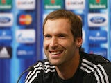 In this handout image provided by UEFA, Petr Cech of Chelsea talks to the media prior to the UEFA Super Cup match between Bayern Muenchen and Chelsea FC at Stadion Eden on August 29, 2013