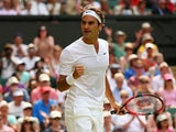 Roger Federer of Switzerland reacts during his Gentlemens Singles Second Round match against Sam Querry of the United States during day four of the Wimbledon Lawn Tennis Championships at the All England Lawn Tennis and Croquet Club on July 2, 2015
