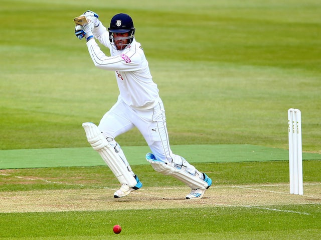 Sean Ervine of Hampshire hits out during Day 2 of the LV County Championship Division One match between Hampshire and Worcestershire at Ageas Bowl on June 1, 2015