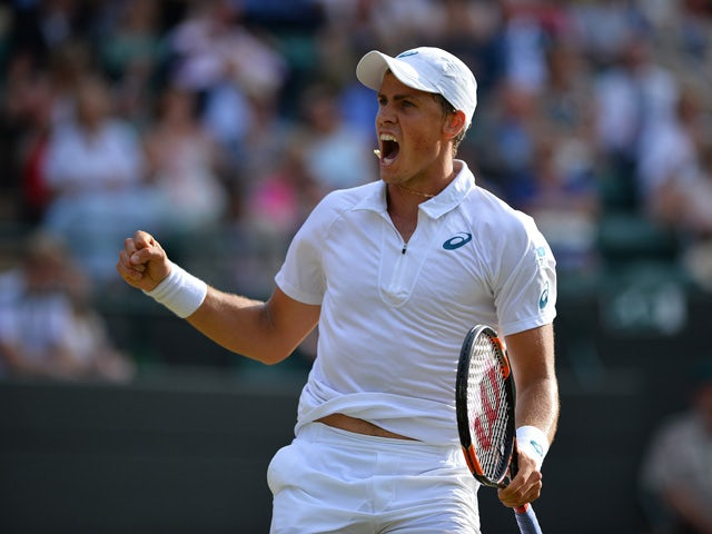 Canada's Vasek Pospisil reacts during his men's singles third round match against Britain's James Ward on day six of the 2015 Wimbledon Championships at The All England Tennis Club in Wimbledon, southwest London, on July 4, 2015