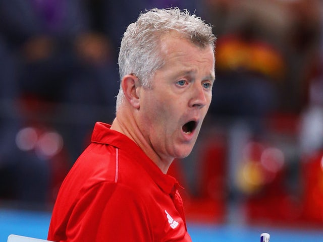 Vital Heynen head coach of Germany gives instructions during the Men's gold medal match between Bulgaria and Germany on day sixteen of the Baku 2015 European Games at Crystal Hall on June 28, 2015