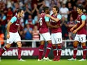 West Ham celebrate with Diafra Sakho of West Ham after he scores to make it 2-0 during the UEFA Europa League match between West Ham United and FC Lusitans at Boleyn Ground on July 2, 2015