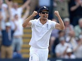 England captain Alastair Cook celebrates winning the 1st Investec Ashes Test match between England and Australia at SWALEC Stadium on July 11, 2015