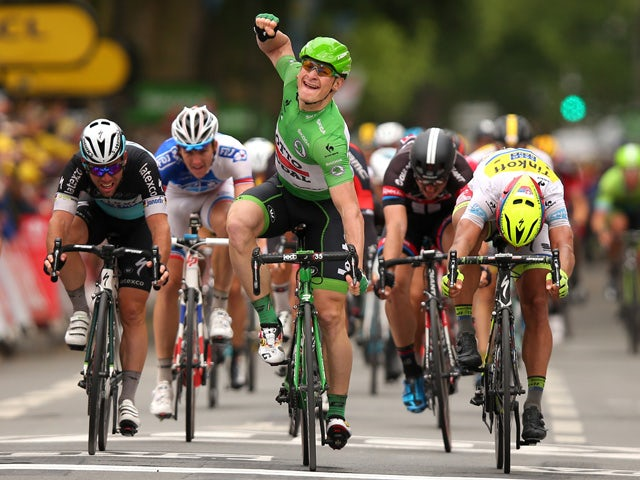 Andre Greipel of Germany and Lotto-Soudal celebrates his victory during stage five of the 2015 Tour de France, a 189.5km stage between Arras and Amiens on July 8, 2015