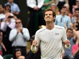Britain's Andy Murray celebrates beating Canada's Vasek Pospisil during their men's quarter-final match on day nine of the 2015 Wimbledon Championships at The All England Tennis Club in Wimbledon, southwest London, on July 8, 2015