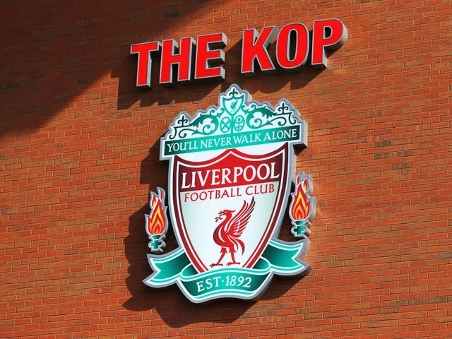 A general view showing the Liverpool club badge at The Kop end prior to the Barclays Premier League match between Liverpool and Manchester United at Anfield on March 22, 2015