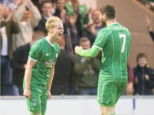 Gary Mackay-Steven of Celtic celebrates his goal during the Pre Season Friendly between Celtic and Real Sociedad at St Mirren Park on July 10th, 2015