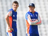 Craig Overton of England stands with twin brother Jamie Overton during England Nets at Trent Bridge on June 16, 2015