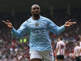 Darius Vassell of Manchester City celebrates scoring the second goal during the Barclays Premier League match between Sunderland and Manchester City at The Stadium of Light on April 12, 2008