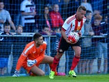 Emanuele Giaccherini of Sunderland retrieves the ball from Darlington goal keeper Peter Jameson after scoring in the first half during a pre season friendly between Darlington and Sunderland at Heritage Park on July 9, 2015