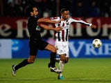 Genaro Snijders of Willem II and Ard Van Peppen of RKC battle for the ball during the Eredivisie match between Willem II Tilburg and RKC Waalwijk at the Koning Willem II Stadion on October 6, 2012