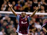 Ian Wright of West Ham United celebrates his goal against Derby County in the FA Carling Premiership match at Upton Park in London