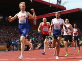 Kyle Langford of Shaftesbury celebrates victory in the men's 800m final during day three of the Sainsbury's British Championships at Birmingham Alexander Stadium on July 5, 2015