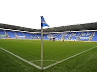 View of the pitch and stands inside The Madejski Stadium before the English Premier League football match between Reading and Fulham at at The Madejski Stadium, in Reading, England on October 27, 201