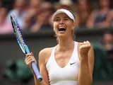 Maria Sharapova of Russia celebrates winning her Ladies Singles Quarter Final match against Coco Vandeweghe of the United States during day eight of the Wimbledon Lawn Tennis Championships at the All England Lawn Tennis and Croquet Club on July 7, 2015