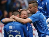 Michael O'Halloran of St Johnstone celebrates after he scores with Steven Anderson and Steven MacLeanduring the Uefa Europa League 2015/16, 1st Qualifying Round, second leg at McDairmid Park, on July 09, 2015