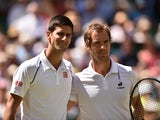 Serbia's Novak Djokovic stands with France's Richard Gasquet ahead of their men's semi-final match on day eleven of the 2015 Wimbledon Championships at The All England Tennis Club in Wimbledon, southwest London, on July 10, 2015