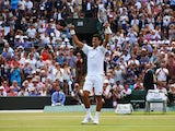 Novak Djokovic of Serbia celebrates after winning his Gentlemens Singles Fourth Round match against Kevin Anderson of South Africa during day eight of the Wimbledon Lawn Tennis Championships at the All England Lawn Tennis and Croquet Club on July 7, 2015