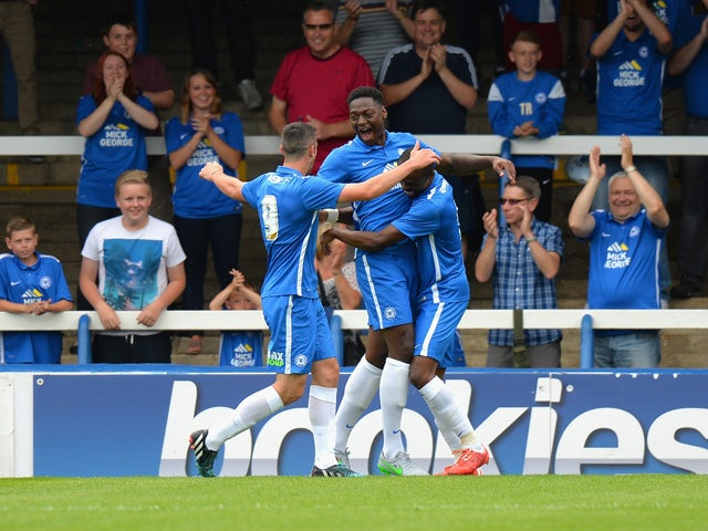 Ricardo Almeidwa Santos of Peterborough United celebrates scoring their first goal during the Pre Season Friendly match between Peterborough United and West Ham United at London Road Stadium on July 11, 2015